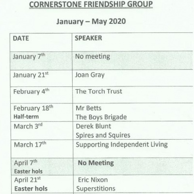 Cornerstone Friendship Group Programme Jan-May 20